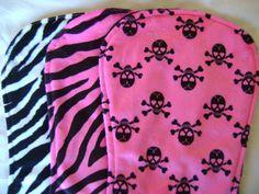 Super cute girly skulls and zebra minky burp cloth set of 3 on Etsy, $13.50