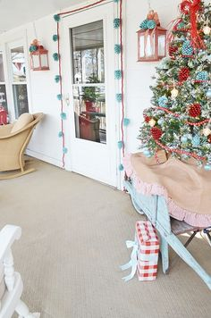 Retro Red and Aqua Christmas Porch - Cottage at the Crossroads