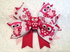 Valentine's Day Owl Boutique Stacked Pinwheel by ItsEspecially4U