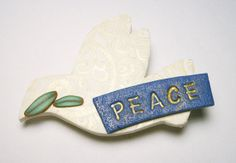 Peace Dove Pin Handmade Polymer Clay Jewelry by SweetchildJewelry, $15.00