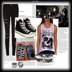 Black veil brides look by hoplessrainicorn on Polyvore featuring Converse, Reception and ASOS