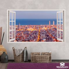 Pegatinas para decorar en forma de ventana-Teleadhesivo Barcelona, Tapestry, 3d, Home Decor, Shape, Home, Open Window, Bay Windows, Vinyls