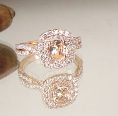 Cushion Peach Champagne Sapphire Infinity by PristineJewelry. If I could have any ring it would be this one
