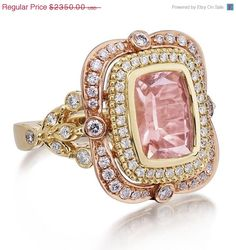 Introducing our NEW DIVINE LOVE Collection Rings, this ring features a Victorian Style Rectangular Cushion Cut Peachy Pink Morganite Gemstone Jewelry, Unique Jewelry, Vintage Jewelry, Fine Jewelry, Jewelry Design, Jewellery, Modern Jewelry, Morganite Engagement, Morganite Ring