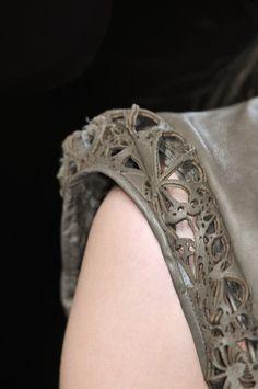 Laser Cut Leather sleeve trim; lasercut fashion details // Haider Ackermann