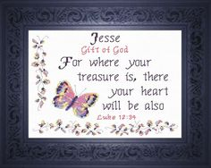 Jesse - Name Blessings Personalized Cross Stitch Design from Joyful Expressions Top Baby Girl Names, Baby Names, Cross Stitch Designs, Cross Stitch Patterns, Esquivel, Names With Meaning, Gifts For Family, Cross Stitch Embroidery, Cross Stitching