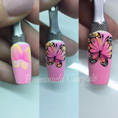 Heat Up Your Life with Some Stunning Summer Nail Art Butterfly Nail Designs, Butterfly Nail Art, Gel Nail Designs, Fancy Nails, Love Nails, Diy Nails, Pretty Nails, Nail Art Hacks, Gel Nail Art