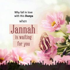 Why fall in love with this Dunya when Jannah is waiting for you. Islam