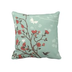 Asian Inspired Cherry Blossoms and Hummingbird Throw Pillow by CustomLinens