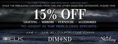 June Lighting Sale 15% off