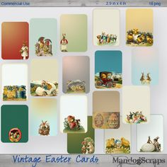 Vintage Easter Tags-Cards by Mandog Scraps Easter Tag, Pocket Scrapbooking, Digital Scrapbooking, Pixel Art, Pocket Cards, Vintage Tags, Vintage Easter, Coffee Art, Art Design
