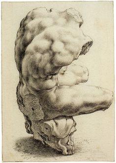 hendrick goltzius drawings | Hendrick Goltzius - Torso Belvedere, Viewed Diagonally from Behind