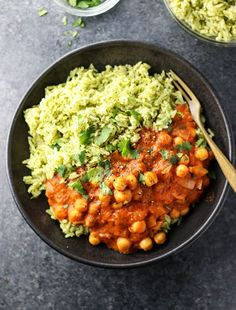 """Vegan Chickpea Tikka Masala with Green Rice. This makes an easy weeknight meal loaded with plant-based protein, and it comes together quickly when you make the flavorful """"green rice"""" in the Instant Pot!"""