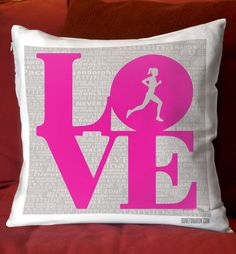 Add a running theme to any room with this LOVE Inspiration pillow!