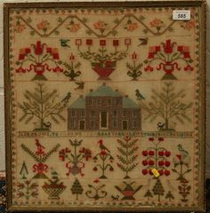 Reeman Dansie Auctioneers - Nineteenth century needlework sampler depicting a country house flanked by animals and foliage, by Jane Brown, in glazed gilt frame 45cm x 42.5cm