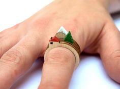 Os anéis com miniaturas de paisagens de Clive Roddy