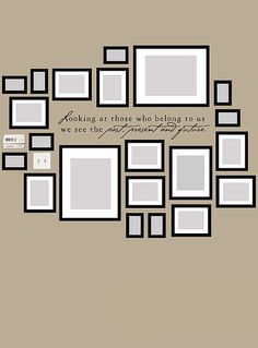 A picture layout for gallery wall. Great for displaying family photos…