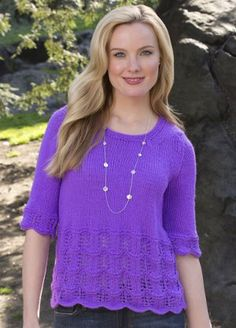 """Scallops and lace sweater Just Hit """"Print:"""" New Patterns from Red Heart"""