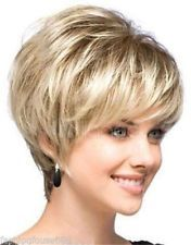 New sexy ladies short Blonde Natural Hair wigs + Wig cap -
