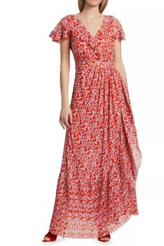 Sophisticated take on a bohemian maxi dress with a romantic cascading ruffle down the neck and skirt.