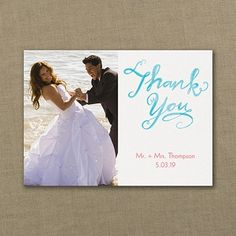 Watercolor Lines - Photo Thank You Note