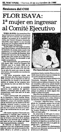Flor Isava, venezolana en convertirse en la primera mujer miembro del Comité Olímpico. Publicado el 21 de septiembre de 1990.