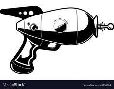 Cartoon vector illustration of a retro future ray gun. Download a Free Preview or High Quality Adobe Illustrator Ai, EPS, PDF and High Resolution JPEG versions.