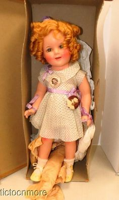 ORIGINAL IDEAL SHIRLEY TEMPLE AMERICAS DARLING COMPOSITION DOLL & DRESS + BOX
