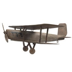 Unusual Folk Art Bi-plane Weathervane