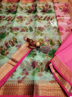 Digital Printed Organza Weaves with antique Zari work ! **The World of Pure Fabrics** 🌟⭐️✨💫 Organza Saree, Silk Sarees, Weaving, Pure Products, Antiques, Tableware, Prints, Fabrics, Digital
