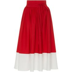 MDS Stripes High Waist Border Skirt ($495) ❤ liked on Polyvore featuring skirts, red, red wrap skirt, calf length skirts, mid calf skirts, high-waist skirt and red pleated skirt