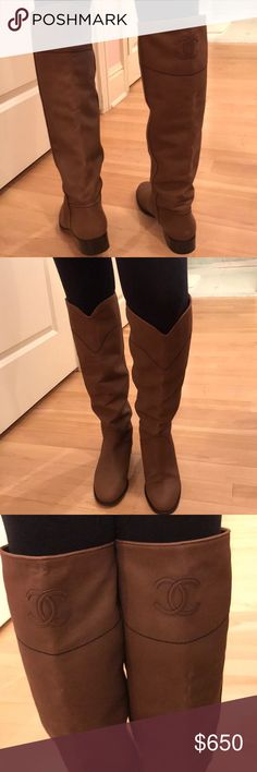 e84020e68799b Authentic Chanel brown boots Gorgeous brown Chanel boots! Knee high boots  with large signature CC