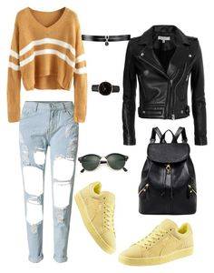 """""""Untitled #12"""" by emminna ❤ liked on Polyvore featuring IRO, Puma, Ray-Ban, Topshop and Fallon"""
