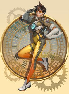 Overwatch Tracer by h Overwatch Video Game, Overwatch Tracer, Tracer Art, Overwatch Drawings, Overwatch Pictures, Science Fiction, Tracer Cosplay, Fanart, Figure Drawing Reference