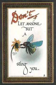Bee sting rebus embossed postcard 1910s Clare Victor Dwiggins Dwig