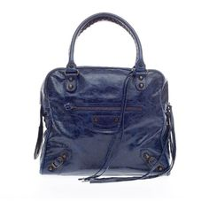 Pre-owned Balenciaga Tote ($810) ❤ liked on Polyvore featuring bags, handbags, tote bags, apparel & accessories, gold, tote handbags, wallets & cases, blue leather handbag, woven leather tote and blue tote bag