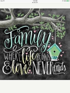 Family Where Life Begins And Love Never Ends Chalk Art Family Sign Chalkboard Art Tree Calligraphy Wall Art Wedding Gift Comic- und Animebilder Blackboard Art, Chalkboard Print, Chalkboard Lettering, Chalkboard Designs, Chalk Wall, Chalk Board, 5d Diamond Painting, Family Signs, Blackboards