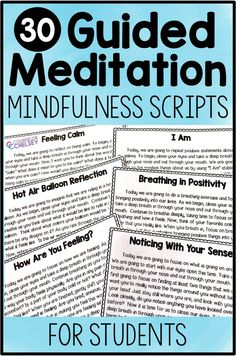 The goal of guided meditation is to help the body and mind relax which can reduce the amount of pain experienced. These scripts can be used during meditation. What Is Mindfulness, Mindfulness For Kids, Mindfulness Activities, Mindfulness Meditation, Guided Meditation, Mindfulness Therapy, Mindfulness Benefits, Mindfulness Training, Mindfulness Practice