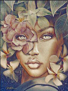 "fyblackwomenart: """"Flor"" by Debbie Wilson ""You can find Black women art and more on our website.fyblackwomenart: """"Flor"" by Debbie Wilson "" Black Love Art, Black Girl Art, Art Girl, Black Art Painting, Black Artwork, Sky Painting, Artist Painting, Arte Black, Black Art Pictures"