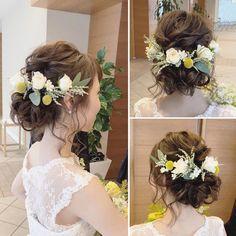 * *春色の … – From Parts Unknown Wedding Hair And Makeup, Wedding Hair Accessories, Hair Makeup, Rustic Wedding Hairstyles, Bride Hairstyles, Bridal Hair Inspiration, Hair Arrange, Hair Setting, Floral Hair