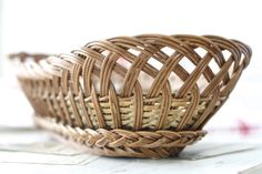 LONG. French vintage basket oval .French bakery by Passesimple