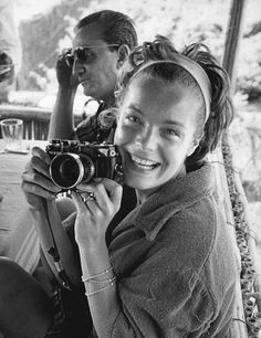 Romy Schneider and Luchino Visconti on 1961 during a cruise in the Mediterranean. Romy's fiance, Alain Delon is seated with them. Photos by Sandford Roth for French Magazine Paris Match.