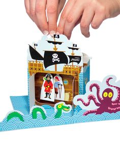 Pirates Paper Theater - Printable PDF Toy - DIY Craft Kit Paper Toy with free Paper Finger Puppets. $6.00, via Etsy.