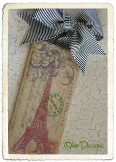 Eiffel Tower French Postcard Marble Subway Tile by Obeedesigns, $12.00