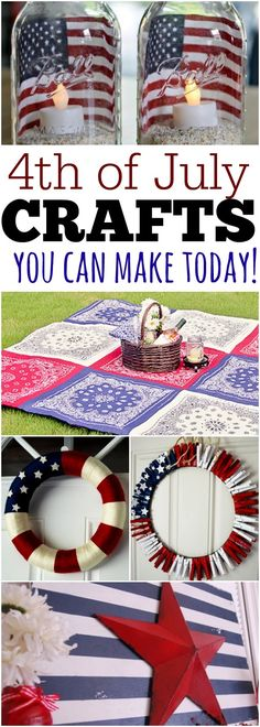 Fourth of July Crafts- Lots of of July Crafts to make everything patriotic. Check out these Fourth of July Crafts. You can make any celebration patriotic with these of July Crafts for your home. Try this easy of July crafts for your July party! Fourth Of July Decor, 4th Of July Decorations, 4th Of July Party, 4th Of July Wreaths, July 4th Wedding, 4th Of July Celebration, Patriotic Crafts, July Crafts, Holiday Crafts