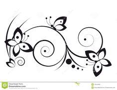 Foto over Zwart-wit vignet in een grafische stijl met vlinders en rollen - 10544958
