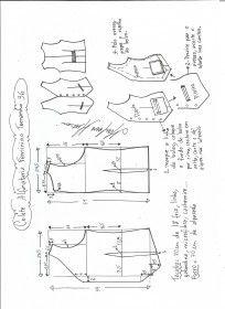 Esquema de modelagem de colete feminino alfaiataria tamanho 36.