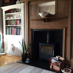 1930s Fireplace, Wood Burner Fireplace, Stove Installation, 1930s House, Stoves, Mantle, Fireplaces, House Ideas, David