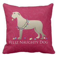 Irish Wolfhound Christmas Design Pillows