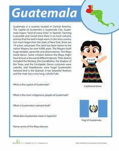 Hispanic Heritage Month Fourth Grade History Comprehension Worksheets: Guatemala… Elementary Spanish, Spanish Classroom, Teaching Spanish, Spanish Teacher, Teaching Resources, Learn Spanish Online, How To Speak Spanish, Spanish Basics, Spanish Lessons